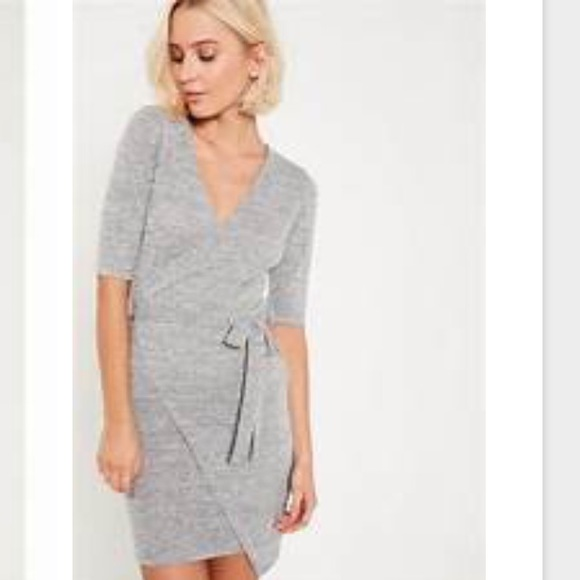 e835f3ef6c8 Missguided grey wrap tie front sweater dress. M 5ab27d035512fdd609dc380a